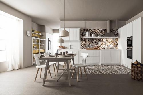 Scandola - cucina Maestrale in legno bianco con tavolo